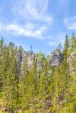 岩石在Adrspach特普利采国家公园晃动-捷克 免版税库存照片