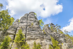 岩石在Adrspach特普利采国家公园晃动-捷克 免版税图库摄影