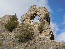 岩石在Janovas在韦斯卡省西班牙 库存照片