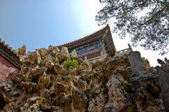 岩石墙壁在故宫,北京中国 免版税图库摄影