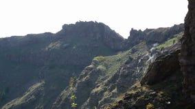 岩石峭壁倾斜与一些的分开蒸,创造地平线的尖的上面 股票视频