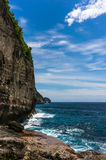 岩石峭壁和美丽的海 免版税库存图片