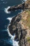 岩石峭壁的海岸 免版税库存照片