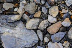 岩石巨型的碎片在岸的 免版税库存图片