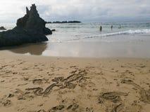 岩石惊人的自然风景在海滩的 免版税图库摄影