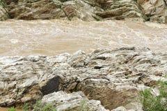 Narmada河&大理石岩石,贾巴尔普尔鸟瞰图  免版税库存图片