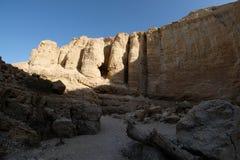 岩石柱子在犹太沙漠 免版税库存照片