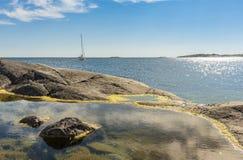 岩石水池Huvudskär斯德哥尔摩群岛 库存照片