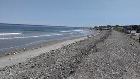 岩石沙滩在缅因新英格兰 库存图片