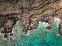 岩石沿海风景奥阿胡岛夏威夷 库存图片
