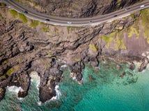 岩石沿海驱动奥阿胡岛夏威夷 库存照片