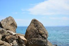 岩石海岸在哥斯达黎加 库存照片