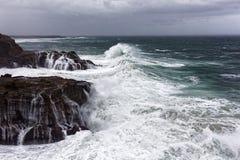 岩石海岸的狂放的海 免版税库存图片