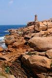 岩石海岸的透视图 库存照片