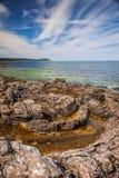 岩石海岸线横向 免版税图库摄影