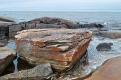 岩石海岸细节  库存照片