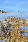 岩石海岸 免版税库存照片