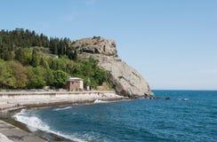 岩石海角Plaka看法在黑海,克里米亚 图库摄影