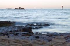 黑岩石海滩,维多利亚澳大利亚 库存图片