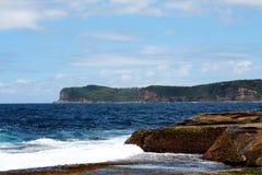 岩石海滩@ Terrigal,澳大利亚 免版税库存照片
