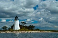黑岩石港口灯塔在桥港,康涅狄格 库存照片