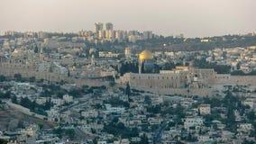岩石的圆顶从haas散步,耶路撒冷的 免版税图库摄影