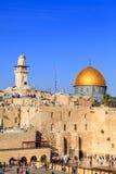 岩石的圆顶和西部墙壁在耶路撒冷 免版税库存照片
