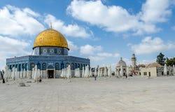 岩石的圆顶在圣殿山的在老城耶路撒冷,以色列 免版税库存图片