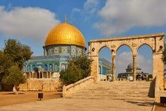 岩石的圆顶,阿拉伯Qubbat Al akhrah,寺庙在耶路撒冷 免版税库存照片