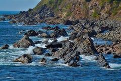 岩石的海滩 免版税库存照片