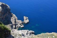 岩石看法,盖帽Formentor,马略卡,西班牙 免版税图库摄影