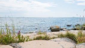 岩石群岛海滩 库存照片