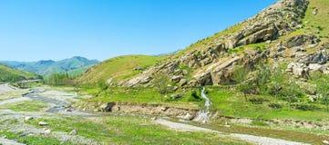 岩石谷的全景 免版税库存图片