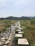 岩石路和小河 库存图片