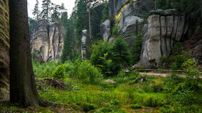 岩石镇在Adrspach 库存照片