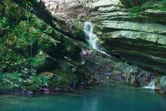 岩石长满与常春藤和青苔与流动一点瀑布 库存照片