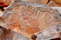 岩石雕刻大象 库存照片
