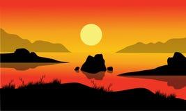 岩石风景在海 库存图片