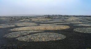 岩石风景茫茫荒野, Sprengisandur冰岛 库存照片