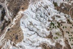岩石风景鸟瞰图在卡帕多细亚 免版税库存图片