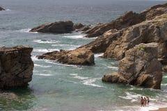 岩石briitany的海岸 免版税库存图片