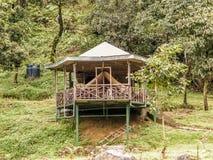 岩质岛村庄,Jhalong阵营,Suntalekhola Samsing,噶伦堡,西孟加拉邦,印度在Neora谷国立公园附近位于 免版税库存图片
