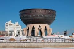 岸上家庭河Kazanka的中心在冬天 喀山俄国 免版税库存照片