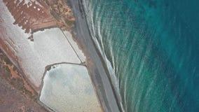 岸兰萨罗特岛的空中全景跨线桥在北部的 股票录像