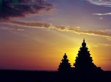 岸寺庙马马拉普拉姆Tamilnadu印度 库存图片