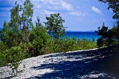 从岸的密歇根湖 免版税图库摄影