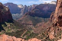 峡谷俯视,锡安国家公园 图库摄影