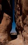 峡谷在考古学站点Madain萨利赫沙特阿拉伯 免版税图库摄影