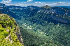 峡谷在Ordesa国家公园,比利牛斯,韦斯卡省,阿拉贡,西班牙 库存图片