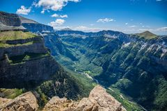峡谷在Ordesa国家公园,比利牛斯,韦斯卡省,阿拉贡,西班牙 库存照片